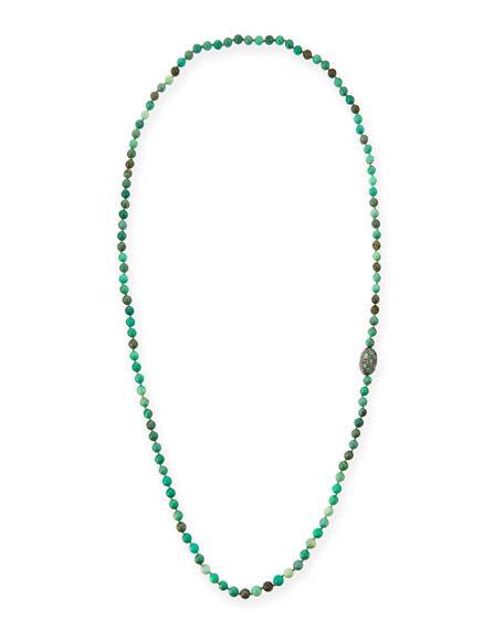 Siena Jewelry Green Moss Opal Necklace with Diamonds
