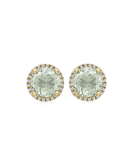 Grace Green Amethyst Stud Earrings with Diamonds