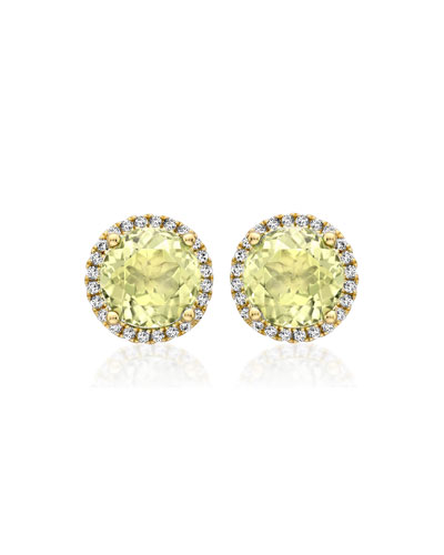 Grace Lemon Quartz Stud Earrings with Diamonds