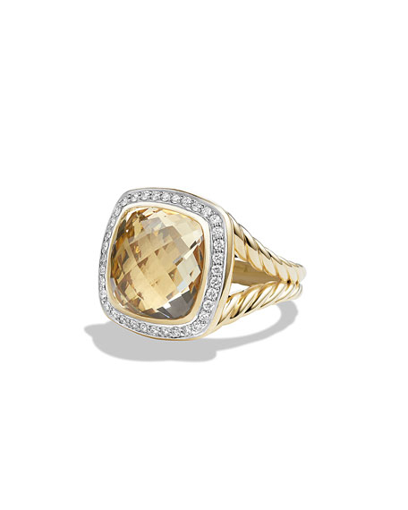Albion Ring with Champagne Citrine and Diamonds in Gold, Size 7