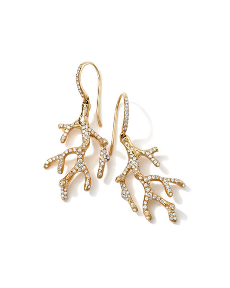 Ippolita Stardust 18k Branch Earrings with Diamonds