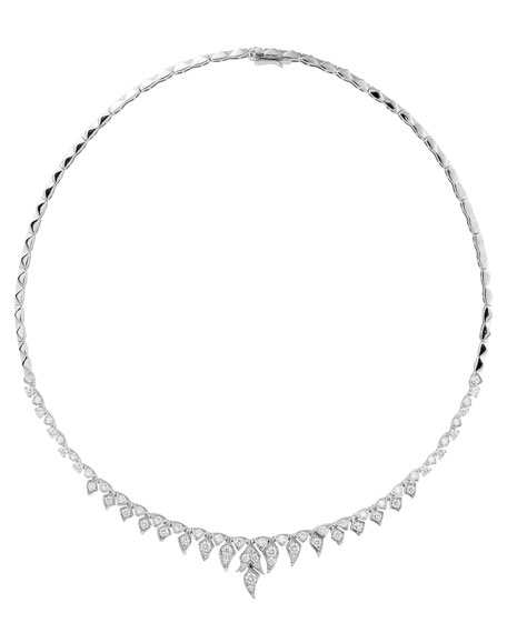 Magnipheasant 18k White Gold Diamond Short Necklace