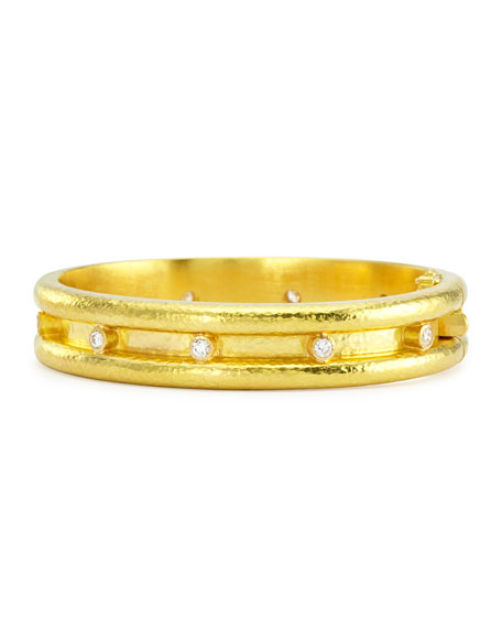 Elizabeth Locke 19k Double-Band Diamond Bangle Bracelet