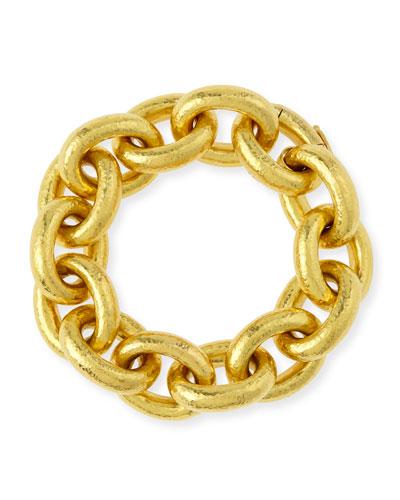 19k Gold Heavy Oval Link Bracelet