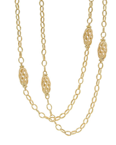 Caviar 18k Gold Station Necklace, 32