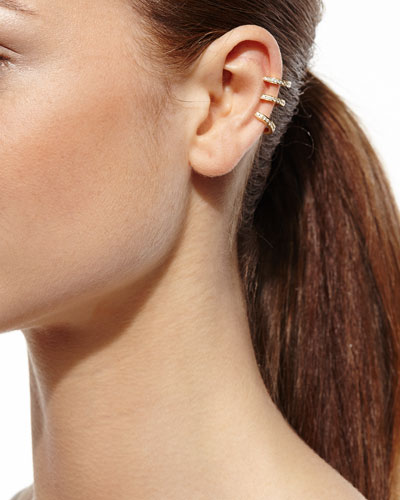 Diamond Heart Stud Ear Cuff Set