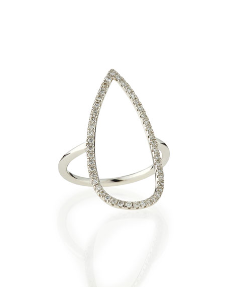Diamond Open-Pear Ring, Size 6