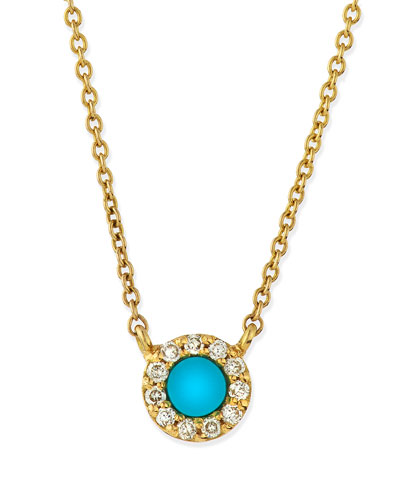 Turquoise & Diamond Eye Pendant Necklace
