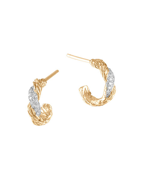 Classic Chain Extra Small 18k Diamond Hoop Earrings