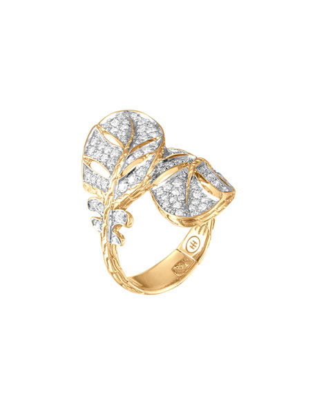Classic Chain Feather 18k Diamond Overlap Ring, Size 7
