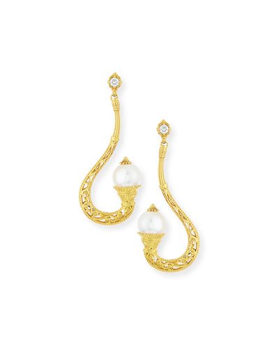 Flamenco 18k Filigree Pearl Tip Earrings