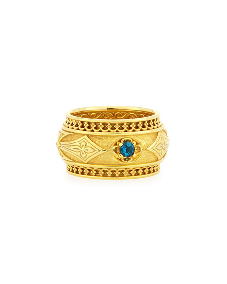 Flamenco 18k Band Ring with Blue Topaz, Size 7