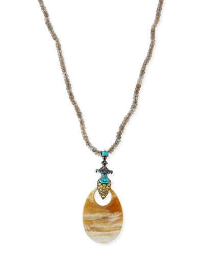 Garden of Spring and Summer Labradorite & Horn Necklace