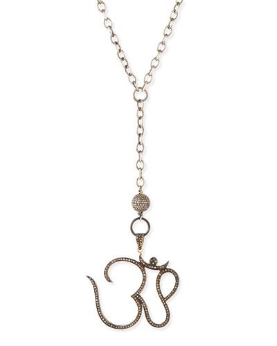 Silver Pave Diamond Ohm Pendant Necklace, 44