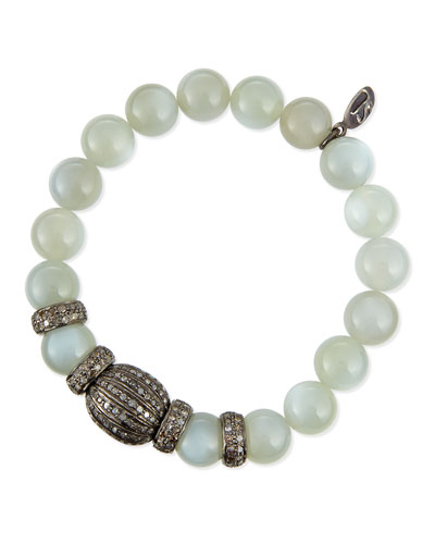 Moonstone & Pave Diamond Bracelet