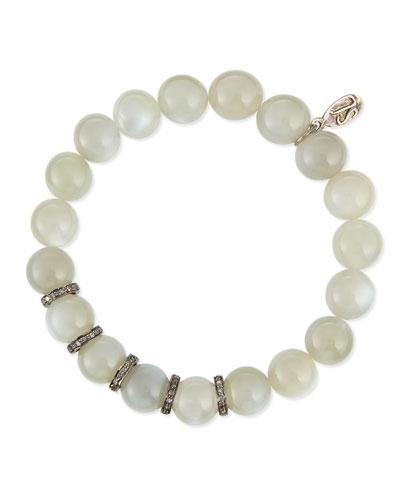 Moonstone & Pave Diamond Bracelet, 1ct.