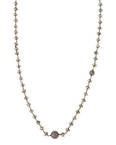 Faceted Pyrite & Pave Diamond Necklace, 44