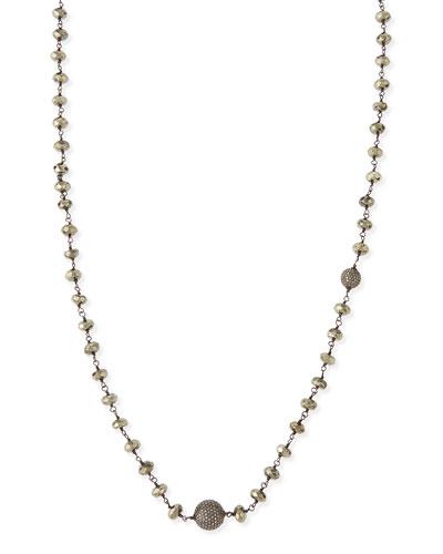"Faceted Pyrite & Pave Diamond Necklace, 44""L"
