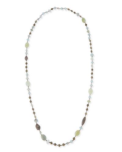 "Aquamarine, Pyrite & Pave Diamond Necklace, 40""L"