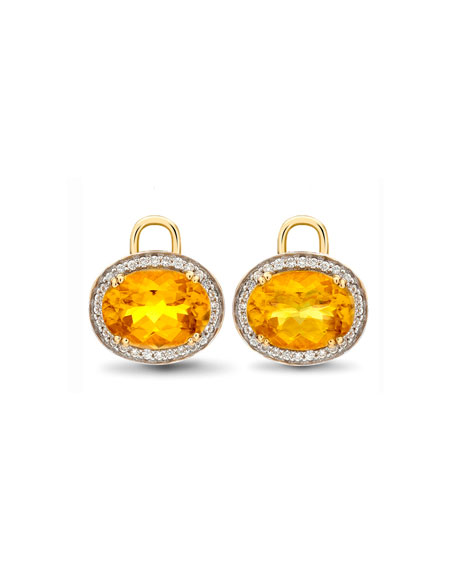 Kiki McDonough Oval Citrine & Diamond Earring Drops,
