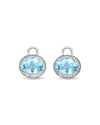 Kiki McDonough Oval Blue Topaz & Diamond Earring
