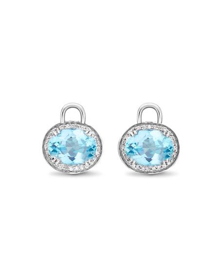 Oval Blue Topaz & Diamond Earring Drops, 18k White Gold