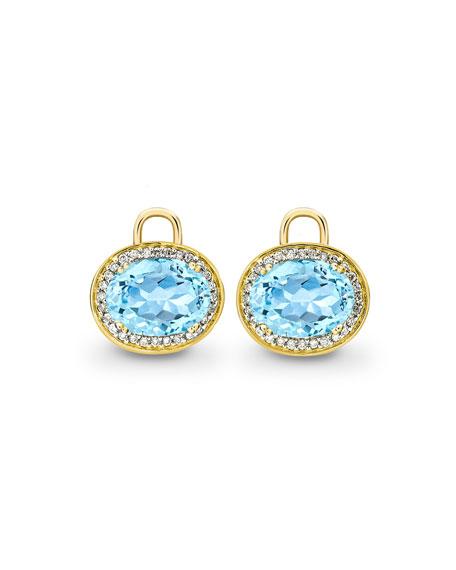 Kiki McDonough Oval Blue Topaz & Diamond Earring Drops, 18k Yellow Gold ...