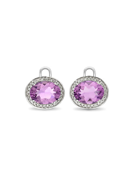 Oval Amethyst & Diamond Earring Drops, 18k White Gold