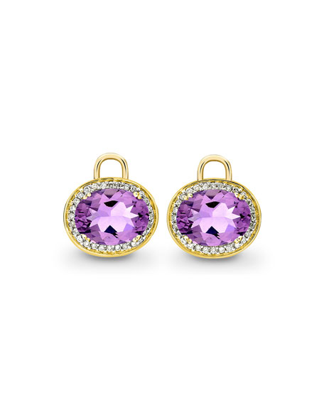 Kiki McDonough Oval Amethyst & Diamond Earring Drops,