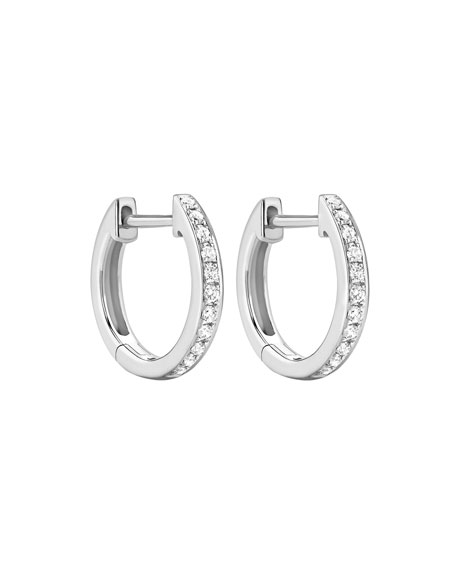 Kiki Classics 18k White Gold Diamond Hoop Earrings
