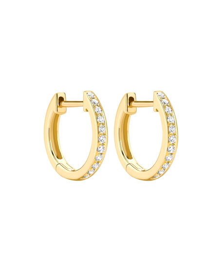 Channel-Set Diamond Mini Hoop Earrings In 18K Yellow Gold