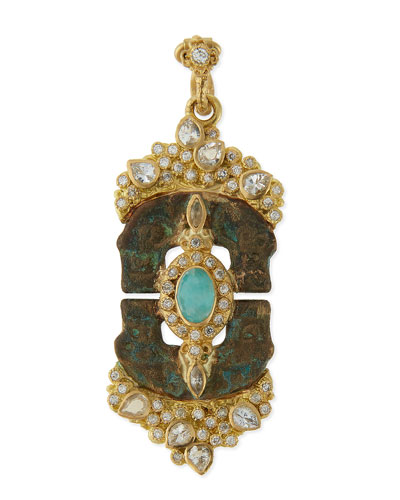 Sueno Blue Turquoise & Rainbow Moonstone Doublet Artifact Enhancer
