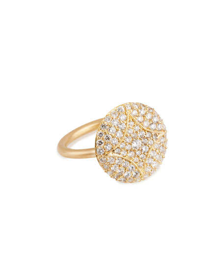 Aladdin 18k Pave Diamond Disc Ring, 5/8""