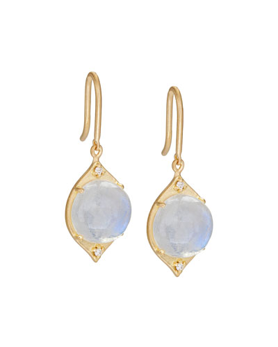 Aladdin Moonstone & Diamond Drop Earrings
