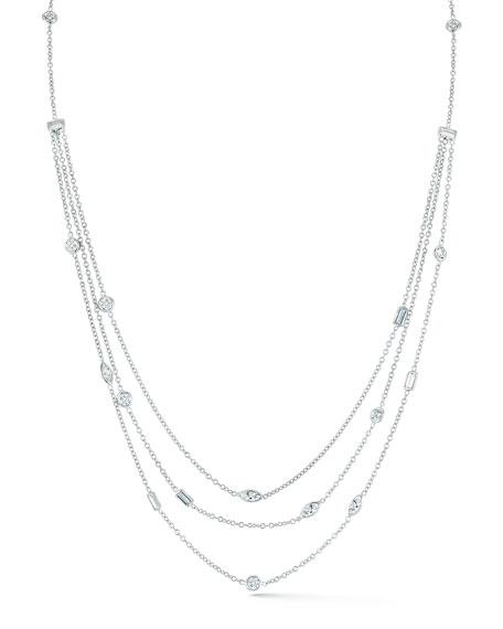 Mixed Cut Multi-Strand Diamond Necklace