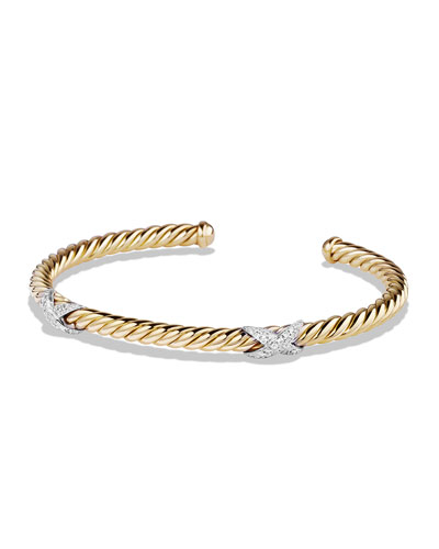 X Collection Bracelet with Diamonds in Gold