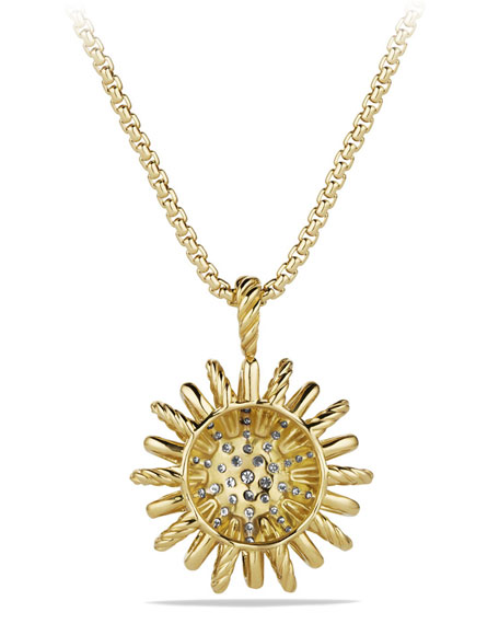 Medium 18K Gold Starburst Pendant Necklace with Diamonds