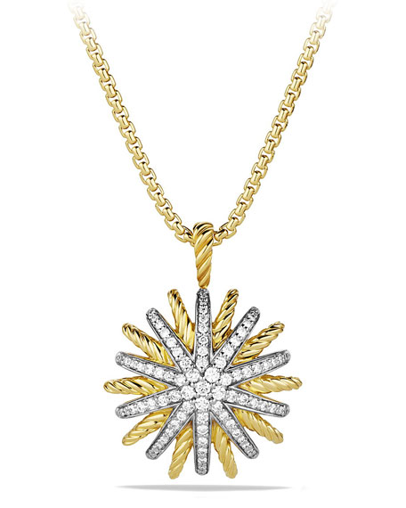 Medium 18K Gold Starburst Pendant Necklace with Diamonds