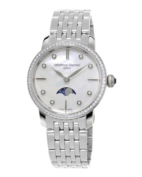 Ladies' Slimline Moonphase Stainless Diamond Watch