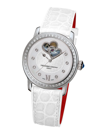 34mm Ladies Automatic Double Heart Diamond Watch