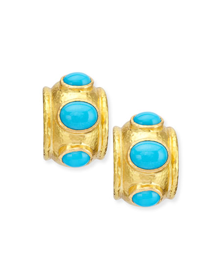 Elizabeth Locke Turquoise Huggie Hoop Earrings