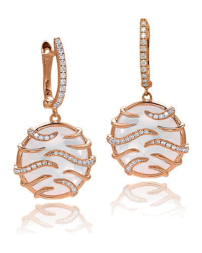 Luna Mini Mother-of-Pearl & Diamond Medallion Earrings