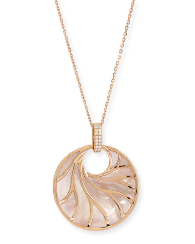 Venus Pink Mother-of-Pearl & Diamond Pendant Necklace