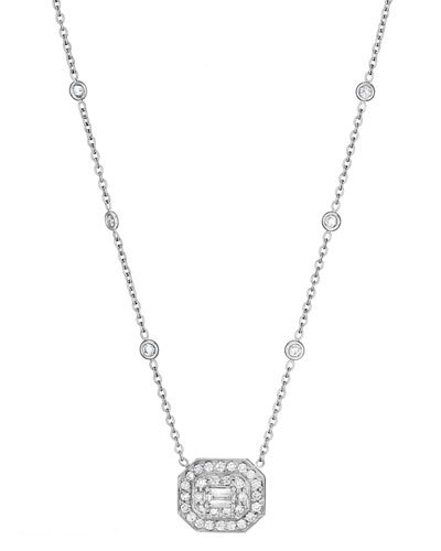 Deco Collection Emerald-Cut Diamond Pendant Necklace