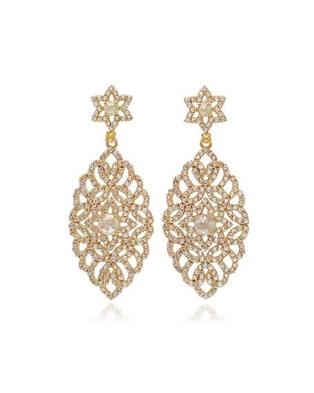 Bavna Marquise Multicolor Diamond Drop Earrings