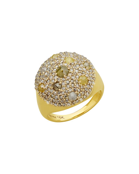 Bavna Multicolor Diamond Round Ring, Size 7