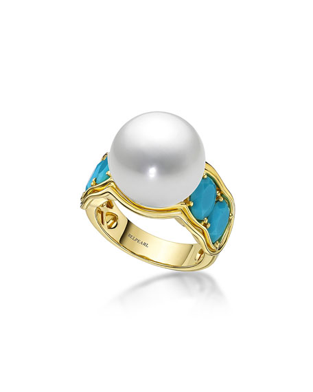 Aura South Sea Pearl & Turquoise Ring