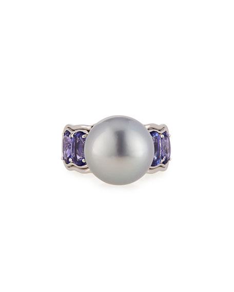 Aura Tahitian Gray Pearl & Tanzanite Ring, Size 6.5