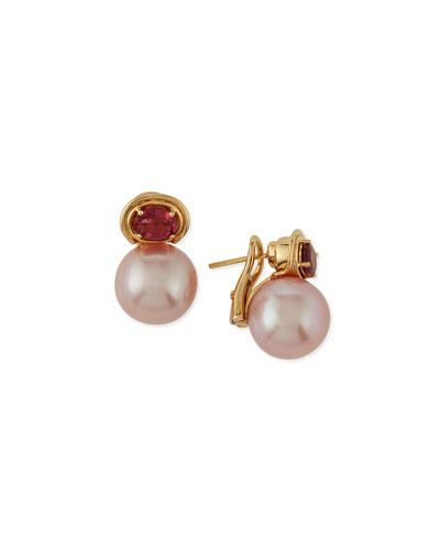 Aura Kasumiga Pearl & Pink Tourmaline Earrings