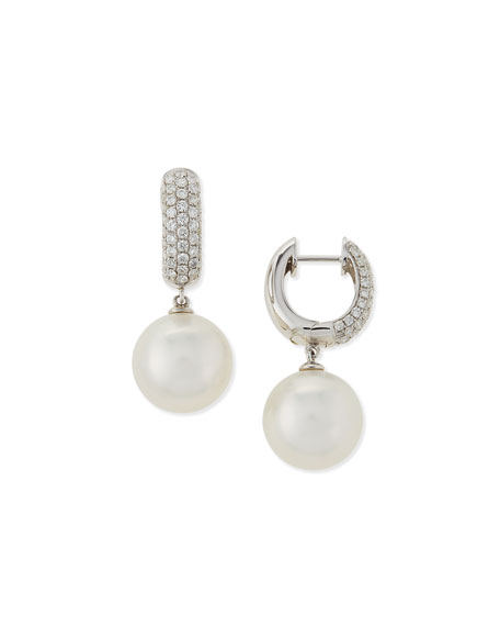 Avenue South Sea Pearl & Diamond Hoop Earrings